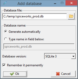 Screen capture of the add database screen in SQLite showing the Spiceworks DB connectioni details
