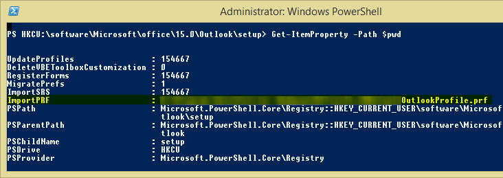PowerShell window showing the contents of a registry location as a result of using the Get-ItemProperty cmdlet. A value named ImportPRF is highlighted, as that's the one I wish to remove.