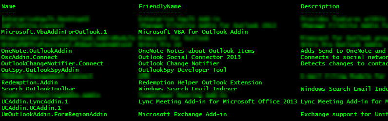 Screenshot of the output of the abovementioned PowerShell command. Shows a table with the headings Name, FriendlyName, and Description. Lists the Outlook add-ins below these headings.