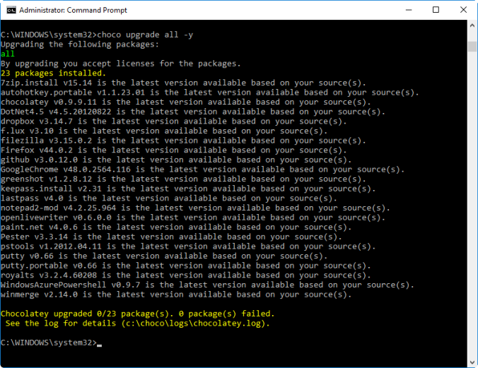 Command prompt window showing the results of a 'choco upgrade all -y' command