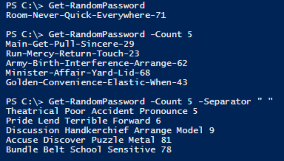 A PowerShell window displaying the output of Get-RandomPassword. Also shows the function being called with a Count parameter as well as a separator parameter