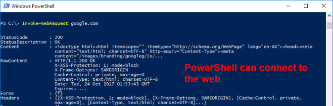 A PowerShell prompt, running Invoke-WebRequest to google.com, and showing a successful request
