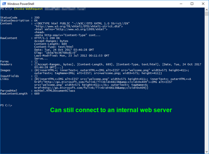 A PowerShell prompt, running Invoke-WebRequest against an internal HTTP server. Showing a successful response