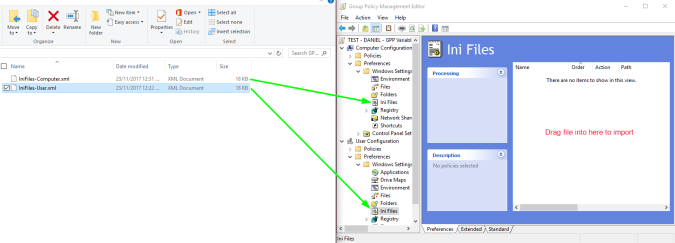 Screenshot of the Group Policy Management Console, showing where to drag the XML files in order to import them into the INI Files GPP area