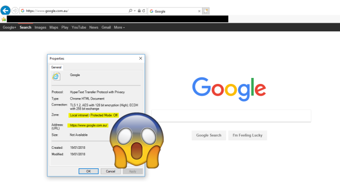"Screenshot of Internet Explorer, browsed to https://www.google.com.au, and File, Properties in Internet Explorer showing that the current zone is ""Local Intranet"""