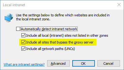 "Screenshot of the dialog box that appears in Internet Explorer when you go to Internet Options > Security (tab) > Local Intranet > Sites (button). Showing the ""Include all sites that bypass the proxy server"" option is currently checked/ticked"