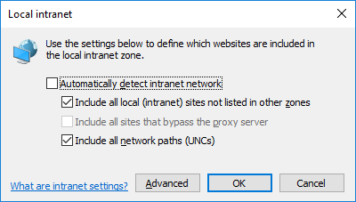 "Screenshot of the dialog box that appears in Internet Explorer when you go to Internet Options > Security (tab) > Local Intranet > Sites (button). Showing the ""Include all sites that bypass the proxy server"" option is currently greyed out due to the GPO that has been put in place"