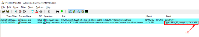 "A screenshot of Process Monitor, showing a registry key at HKLMSoftwareWOW6432NodeInterwovenWorksiteClientCommonInstallRootbitness with a value of ""X86"""